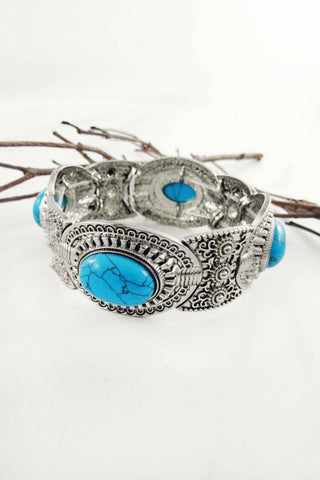 Etched Stretch Stone Bracelet