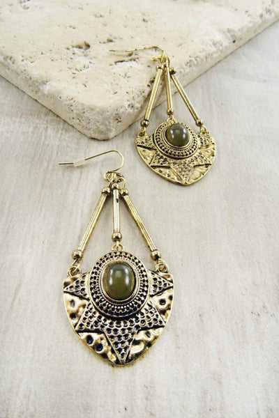 Etched Cat Eye Teardrop Earrings