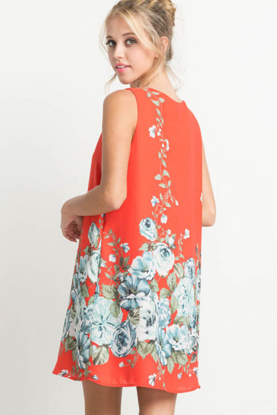 Floral Print Shift Dress with Pockets