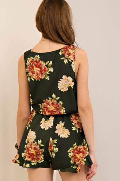 Floral Print Wrap-Style Romper