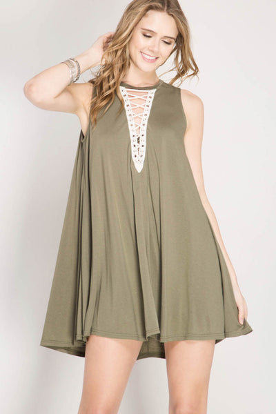 Lace-Up Contrast Swing Dress