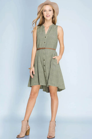 Sleeveless Button Down Stone Washed Dress