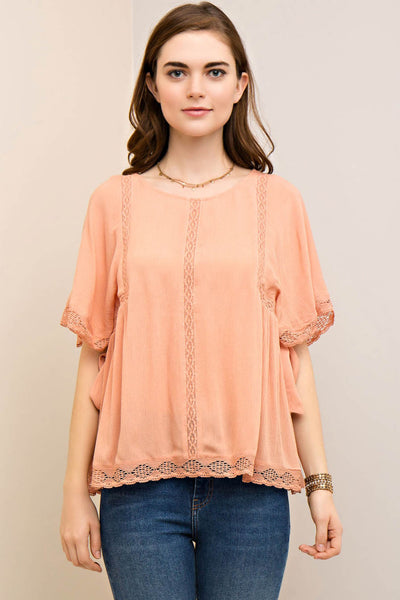 Solid Scoop Neck Crochet Trimmed Top