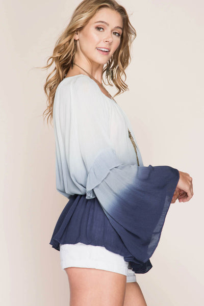 Bell Sleeve Peasant Ombre Tunic Top