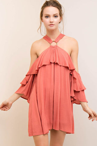 Off Shoulder Flowy Ruffle Halter Dress