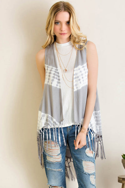 Tie Dye Sleeveless Open Cardigan