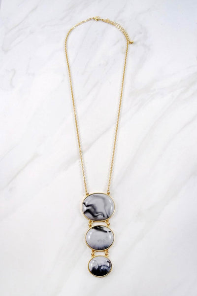Marbleized Pendant Necklace