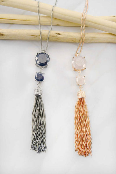 Stone Tassel Necklace