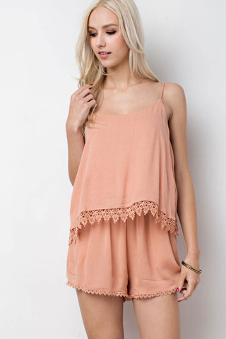 Lace Trimmed Layer Romper