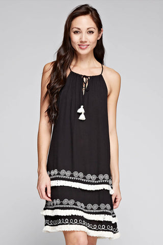 Embroidered Layered Fringe Dress