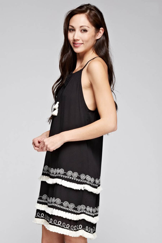 Embroidered Layer Fringe Dress