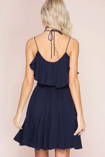 Solid Spaghetti Strap Layered Dress