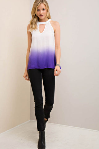 Ombre Halter Top with Button-Down Back