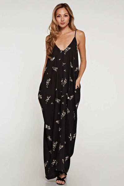 Floral Print Maxi Dress with Side Pockets