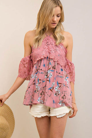 Floral Open-Shoulder Contrast Lace Halter Top