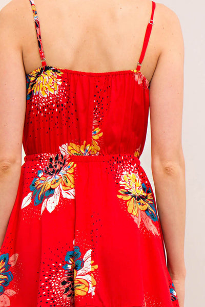 Floral Print Ruffled A-Line Dress