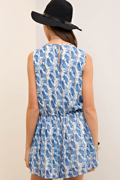 Printed Wrap Style Romper with Side Pockets