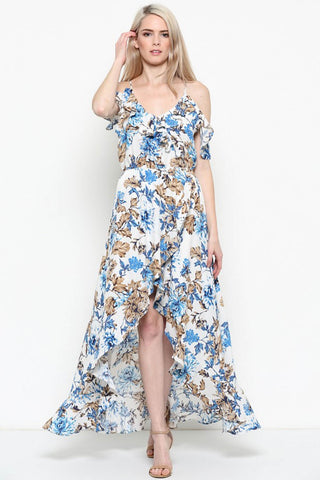 High-Low Floral Print Maxi Dress