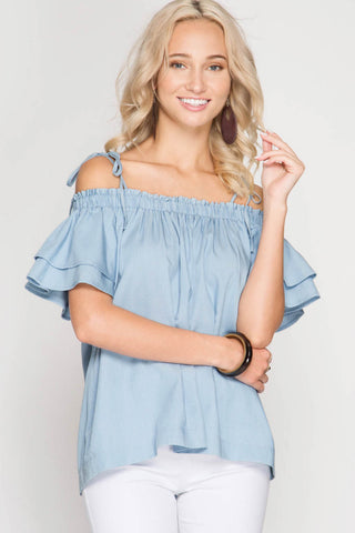 Short Sleeve Off the Shoulder Self Tie Top