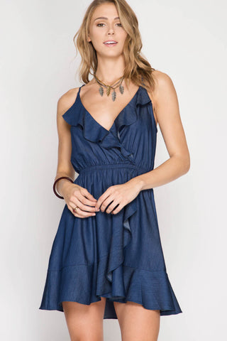 Chambray Wrap Ruffle Dress