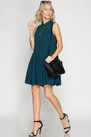 Sleeveless High Neck Swing Dress with Lace Yoke