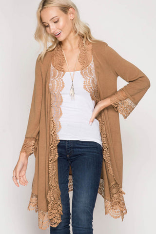 3/4 Sleeve Open Cardigan with Lace Trim