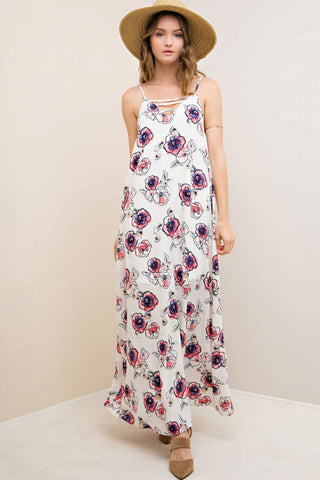 Strappy Floral Print Maxi Dress