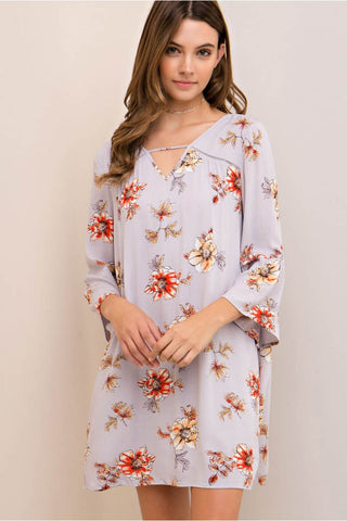Floral Print Baby-Doll Dress with Front Cutout