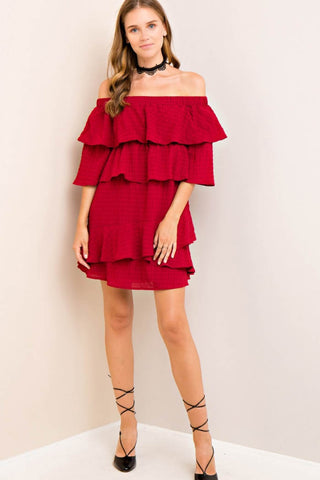 Solid Plisse Off-Shoulder Dress
