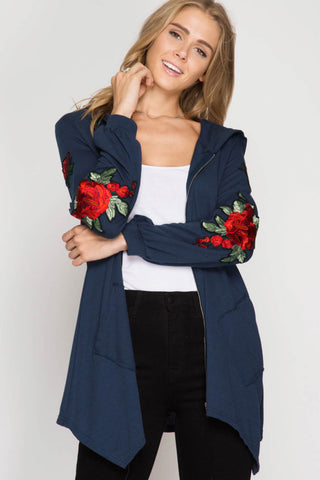 Zip-Up Front Hooded Jacket with Floral Patch