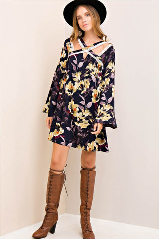 Floral Print Cutout Trim Shift Dress