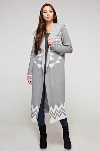 Navajo Long Sleeve Hooded Duster