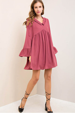Solid Babydoll Ruffled Collar Dress