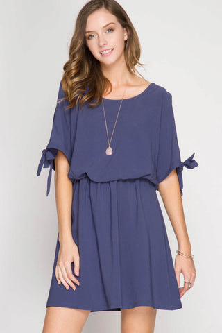 Scoop Neck Short Sleeve Slit Tie Dress and T-Back