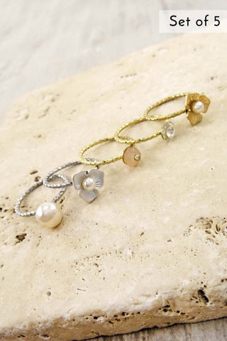 Multi Flower pearl Ring Set