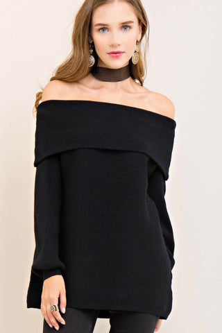 Fold Over Off-Shoulder Sweater Tunic