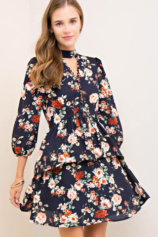 Floral Print Double Layer Baby-Doll Dress