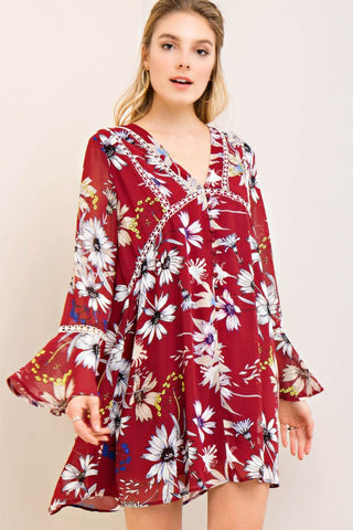 Floral Print Babydoll Crochet Dress
