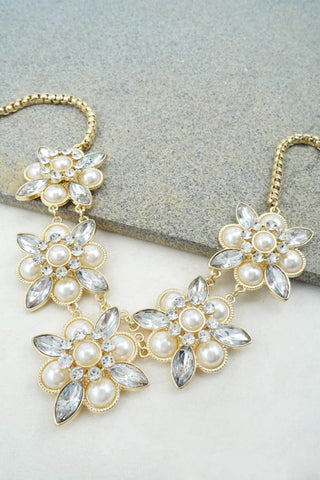 Rhinestone Flower Statment Necklace