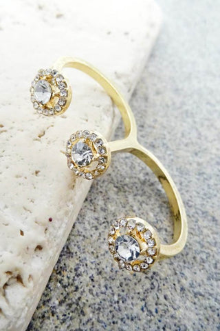 Three Stone Double Finger Ring