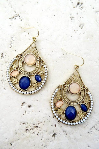 Multi Colored Filigree Earring