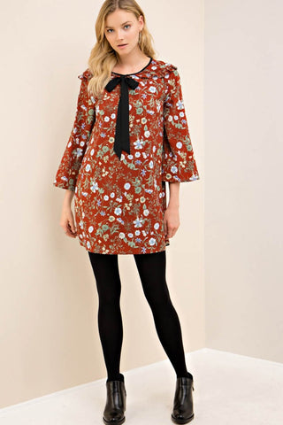 Floral Print Shift Dress with Contrast Ties