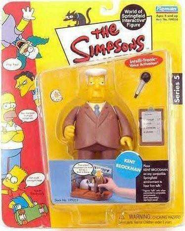 The Simpsons Kent Brockman World of Springfield Action Figure Playmates New in Package