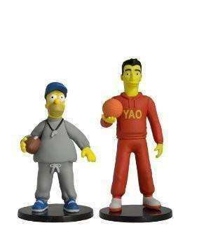 Yao Ming & Coach Homer Simpson mini figures 25 of the Greatest Guest Stars Action Figure NIB NECA