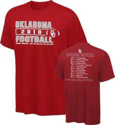 Oklahoma Sooners new 2010 Football Season Schedule t-shirt CMS large NCAA Boomer NWT