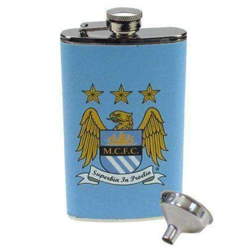Manchester City FC 4oz leather bound hip flask new in box MAN City EPL soccer