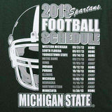 Michigan State Spartans 2013 Football Schedule t-shirt Big 10 Sparty St New in Original Packaging