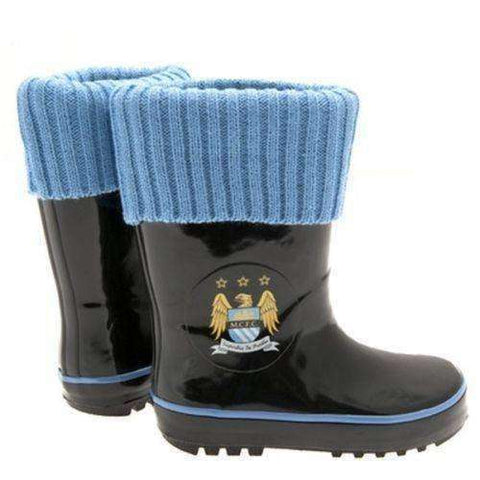 Manchester City FC Children's Wellington sock boots NWT EPL Wellie MAN City