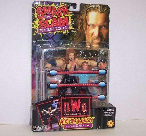1999 Kevin Nash with Referee Accessory WCW NWO Smash N Slam Action Figure by Toy Biz