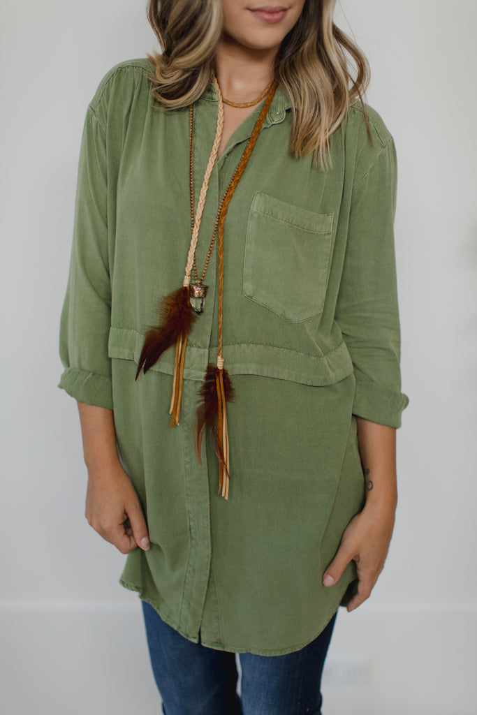On the Road Arya Shirt Dress - Army